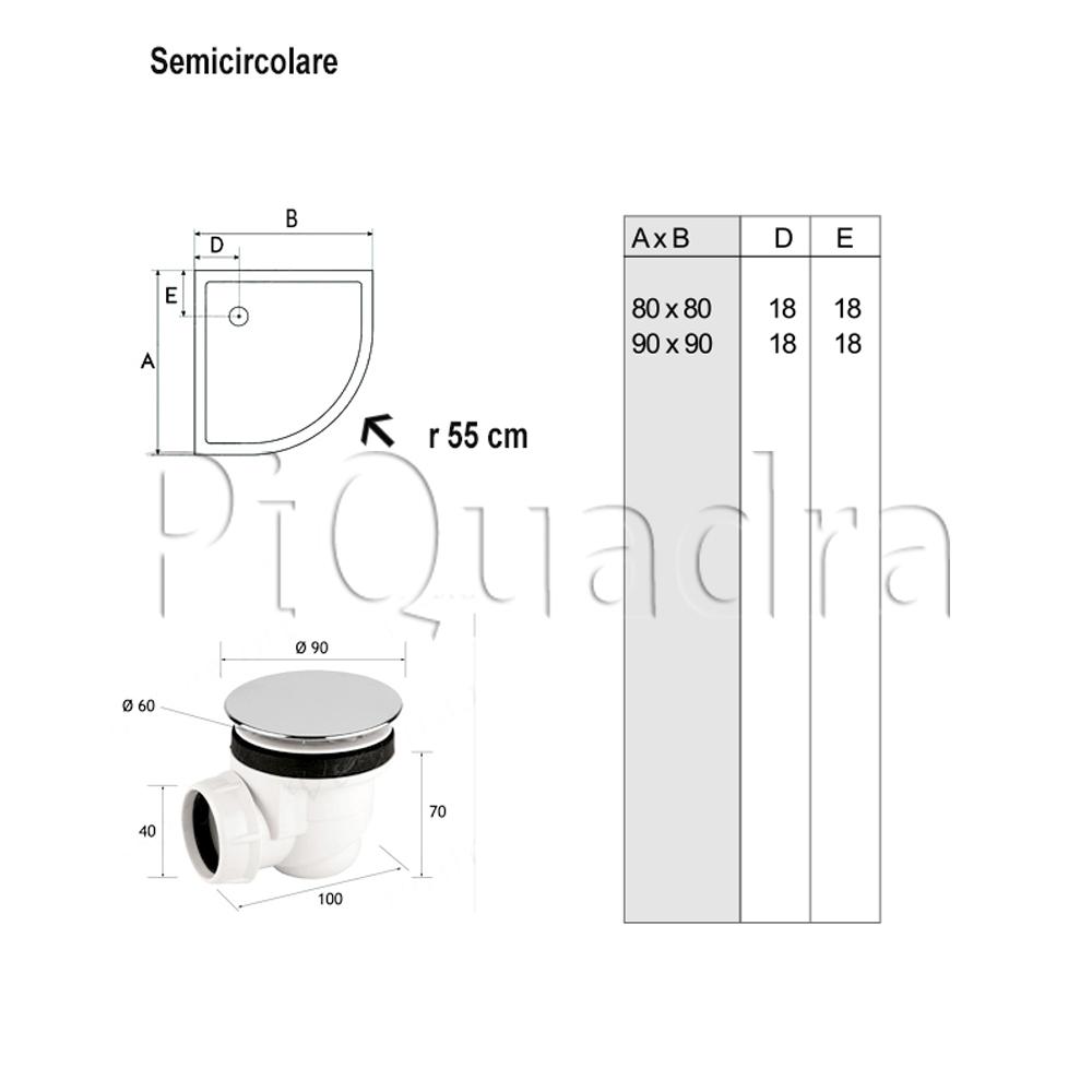 scheda piatto doccia semicircolare h5
